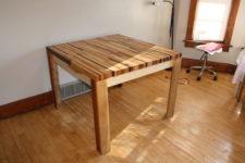 DIY butcher block hardwood dining table