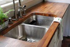 DIY butcher block kitchen sink countertop
