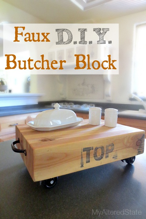 DIY butcher block mobile piece on casters