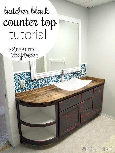 DIY butcher block bathroom counter (via realitydaydream.com)