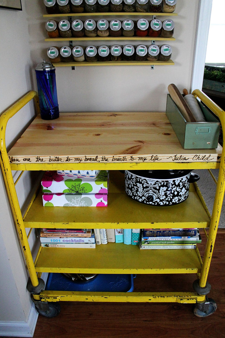 DIY industrial butcher block kitchen cart or island (via blog.confessionsofanewoldhomeowner.com)