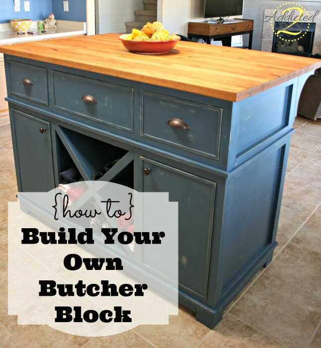 DIY traditional butcher block kitchen island (via addicted2diy.com)