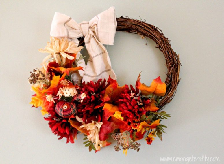 DIY 30 minute fall wreath from dollar store supplies (via cmongetcrafty.com)