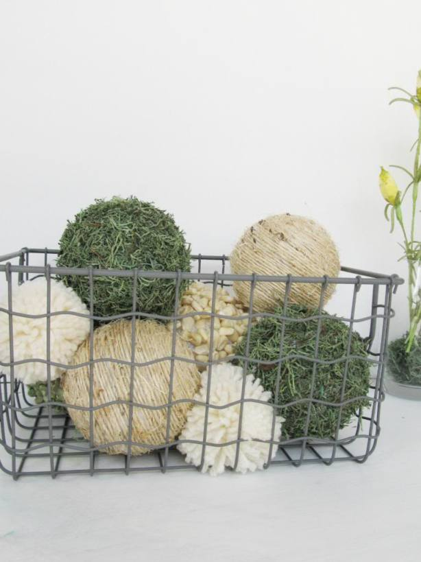DIY dollar store baseballs decorated with split peas and moss (via www.thepearlblog.com)