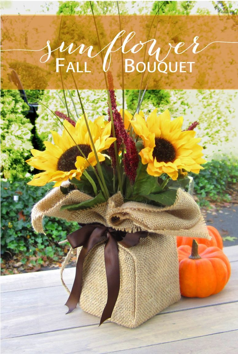 DIY sunflower bouquet from dollar store supplies (via www.365designs.com)