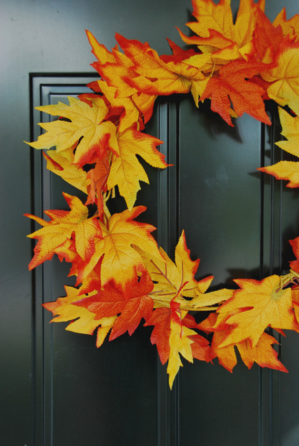 DIY fall leaf wreath from a dollar store garland (via thesweetestdigs.com)