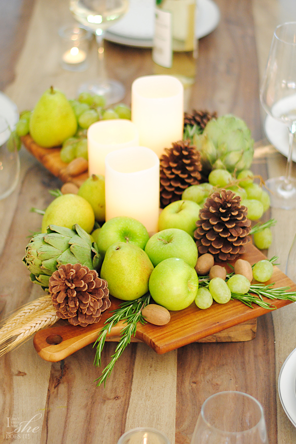 DIY edible centerpiece in green (via www.homegoods.com)