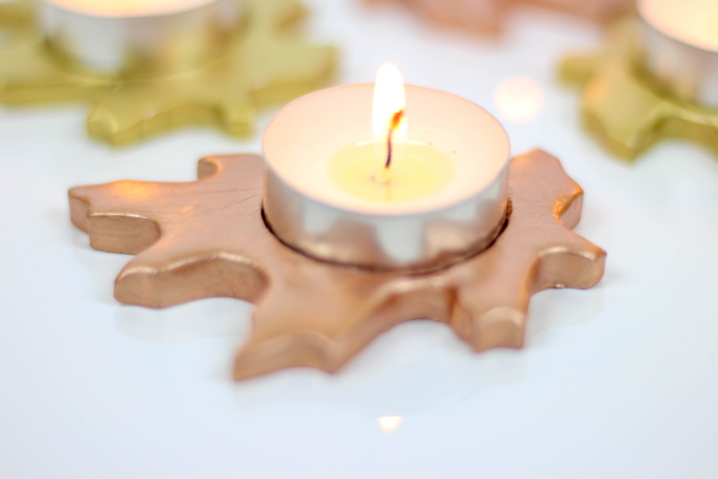 DIY metallic leaf candle holders