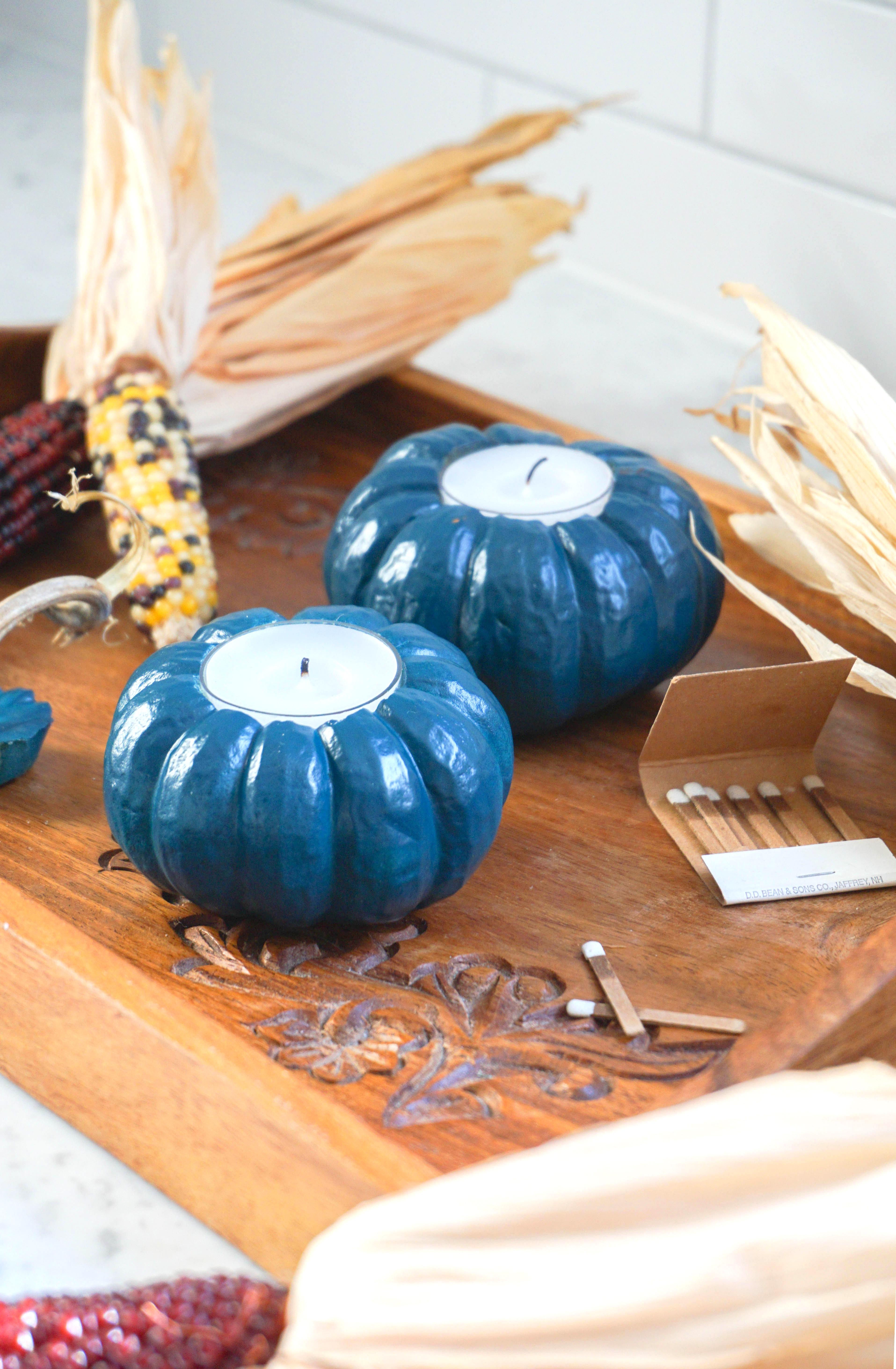 easy and fast DIY pumpkin votives