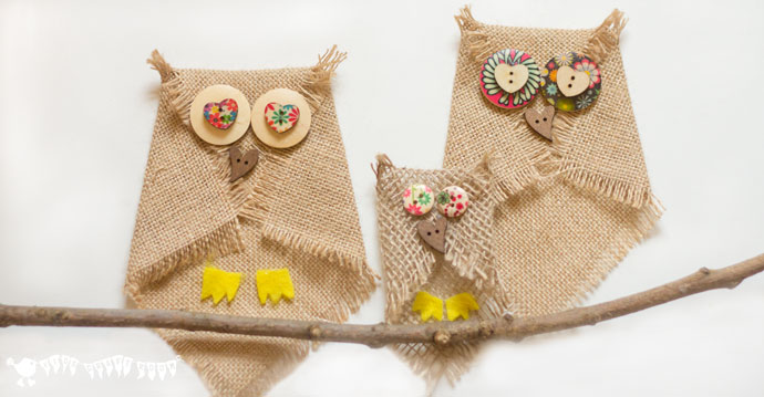 Picture Of DIY No Sew Burlap Owls For Kids