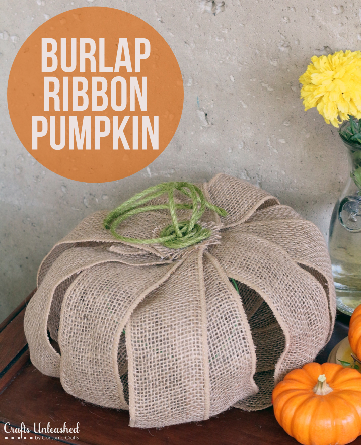 DIY pumpkin of burlap wire ribbon (via blog.consumercrafts.com)