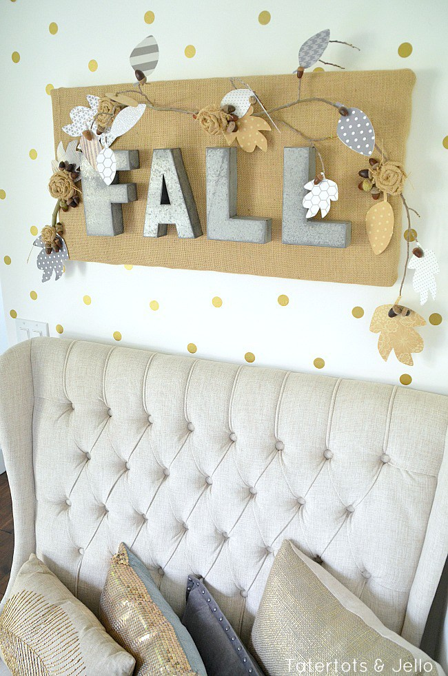 DIY burlap metal letter fall wall hanging (via tatertotsandjello.com)