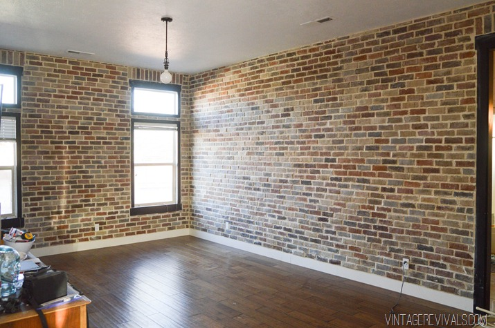 10 diy faux and real exposed brick walls shelterness for Brick wallpaper interior design