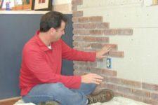 DIY exposed brick veneer wall