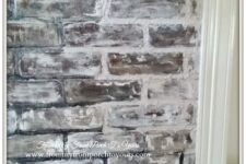 DIY faux brick wall panels using chalk paint for an older look