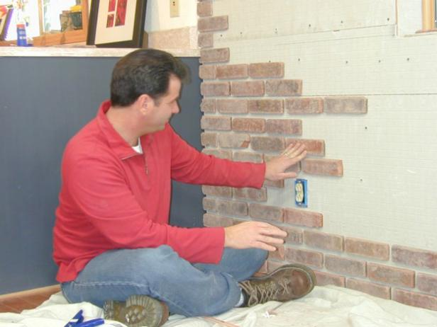 DIY exposed brick veneer wall
