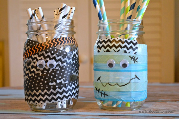 DIY washi tape mason jars (via www.aboutamom.com)