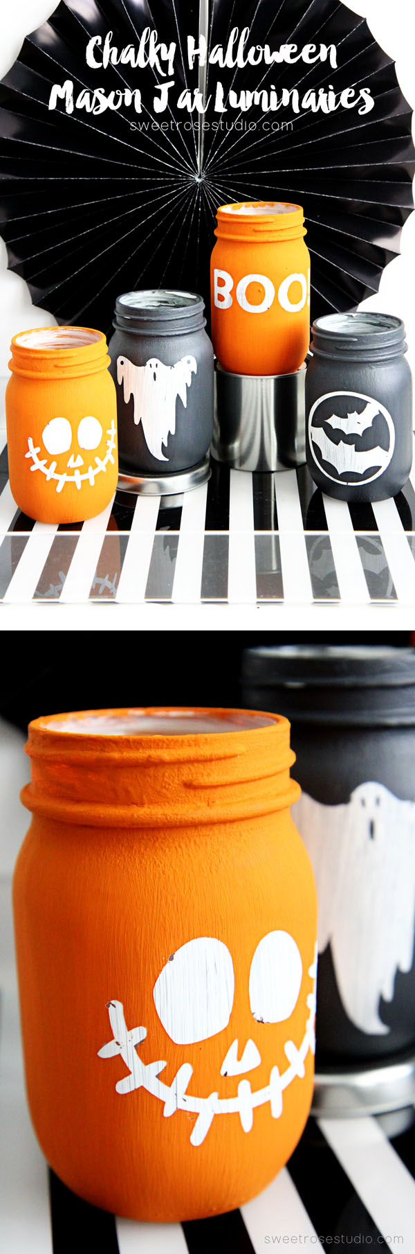DIY chalky Halloween mason jar luminaries (via sweetrosestudio.com)
