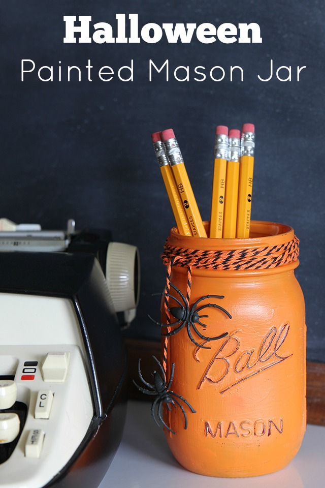 DIY painted mason jars with spiders (via www.houseofhawthornes.com)