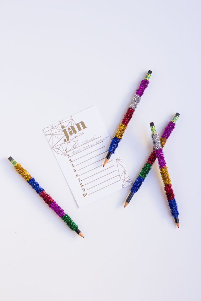 DIY pens and pencils wrapped with pipe cleaners (via www.designimprovised.com)