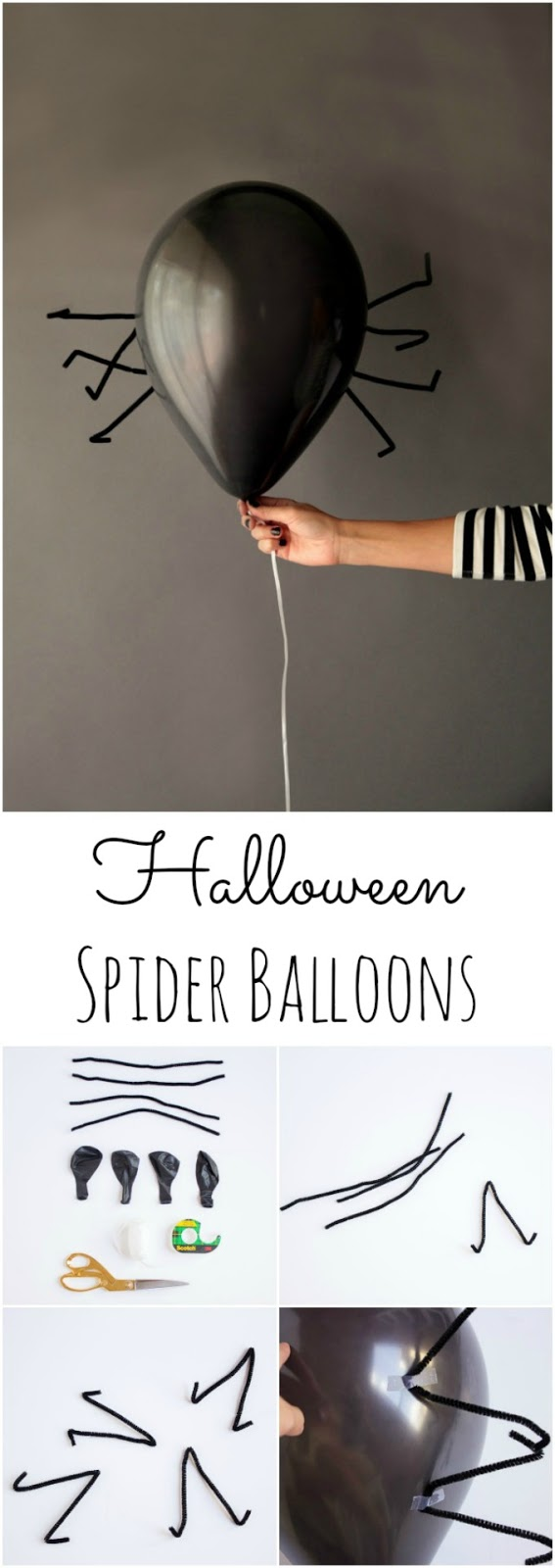 DIY Halloween spider balloons using pipe cleaners (via www.designimprovised.com)