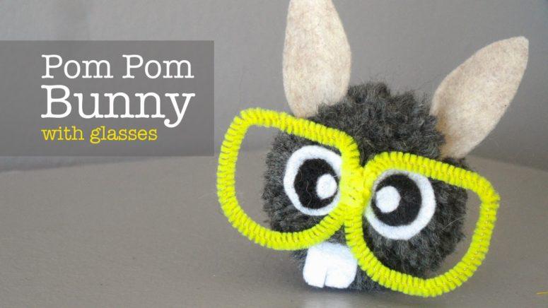 DIY nerdy pompom bunnies with pipe cleaner glasses (via giddyupworkshop.blogspot.ru)