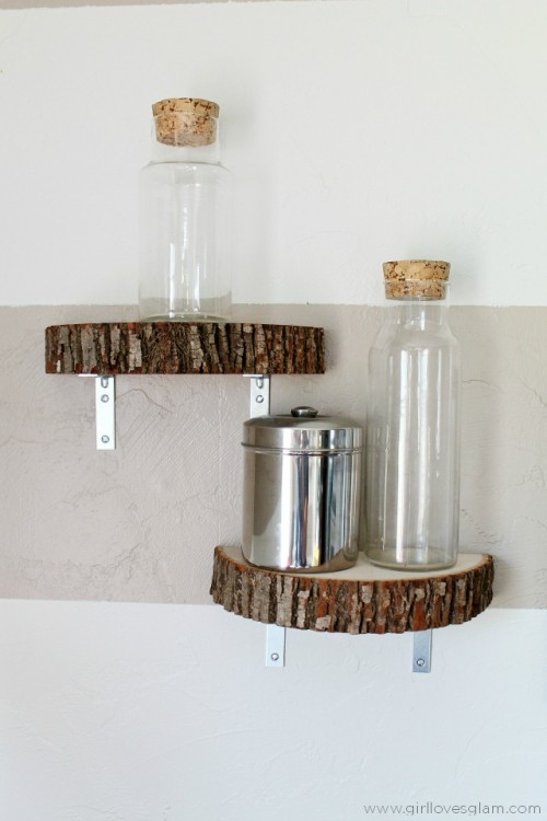 DIY rustic and industrial wood slice wall shelves (via www.shelterness.com)