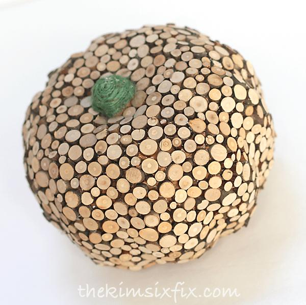 DIY wood slice covered pumpkin