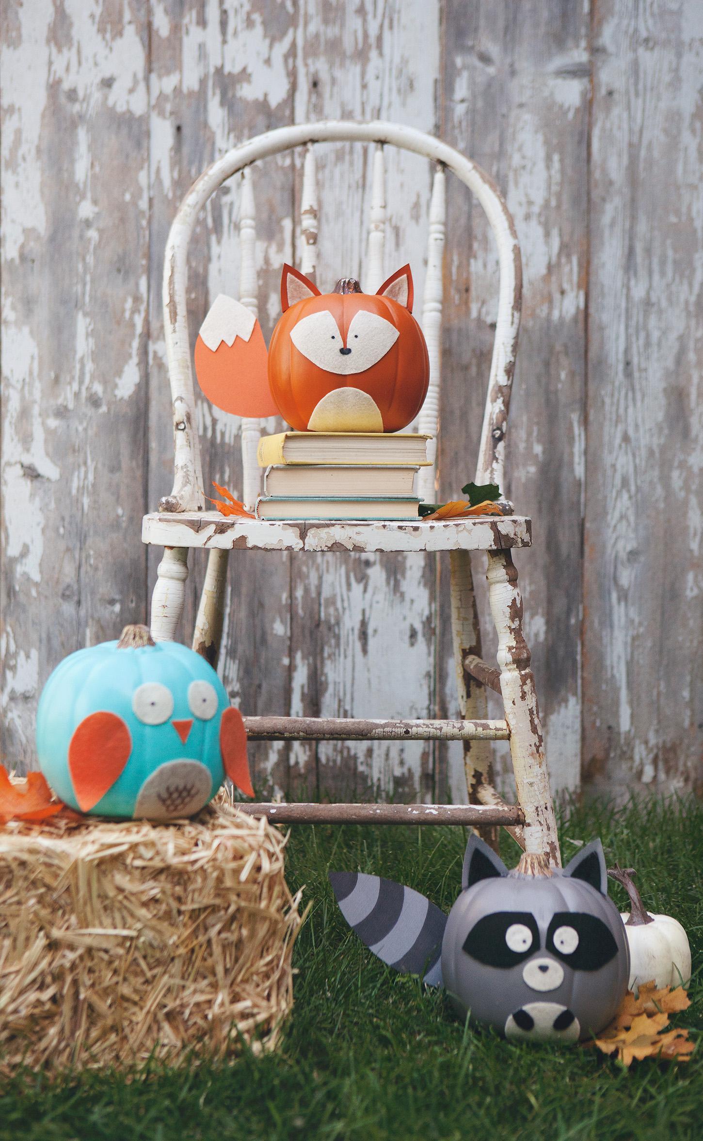 DIY woodland no carve pumpkins for kids
