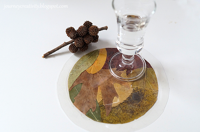 DIY leaf coasters