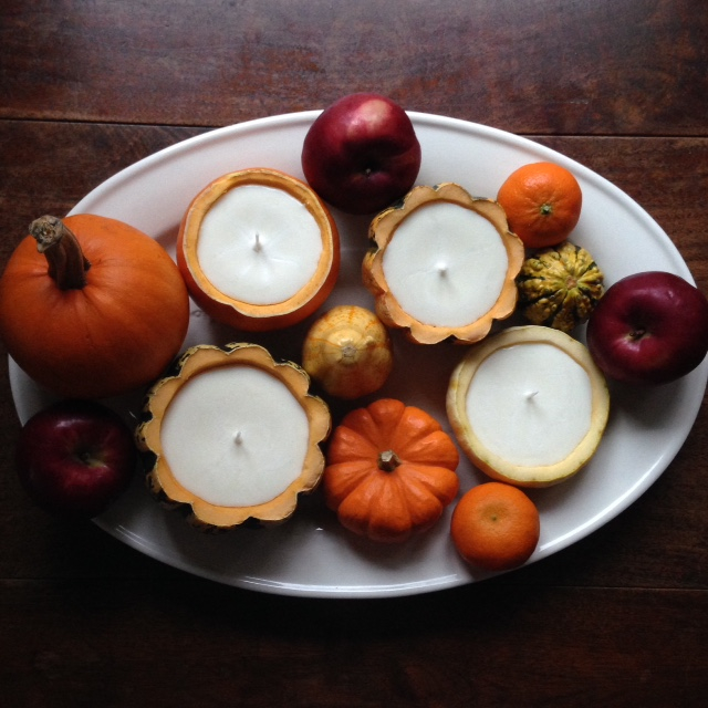 DIY fall centerpiece with gourd candles