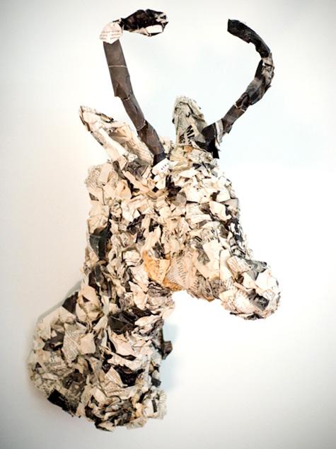 DIY antelope paper mach head made with a wire frame (via www.designsponge.com)