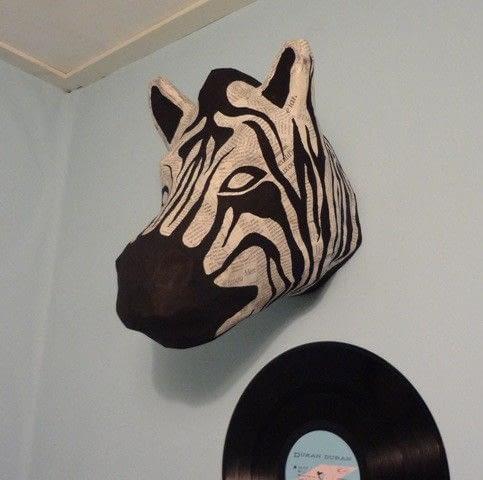 Cool DIY zebra head of paper mache using a wire framing via cutoutandkeep