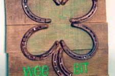 DIY Irish shamrock sign with horseshoes