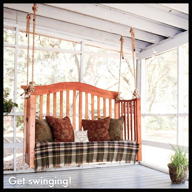 How to repurpose an old crib 12 cool diys shelterness for Easy porch swing