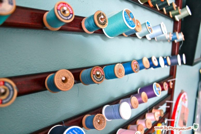 DIY thread spools organizer for crafting fans (via www.madebymarzipan.com)