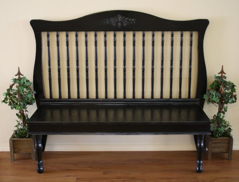 How to turn a crib into an entryway bench (via adiamondinthestuff.com)