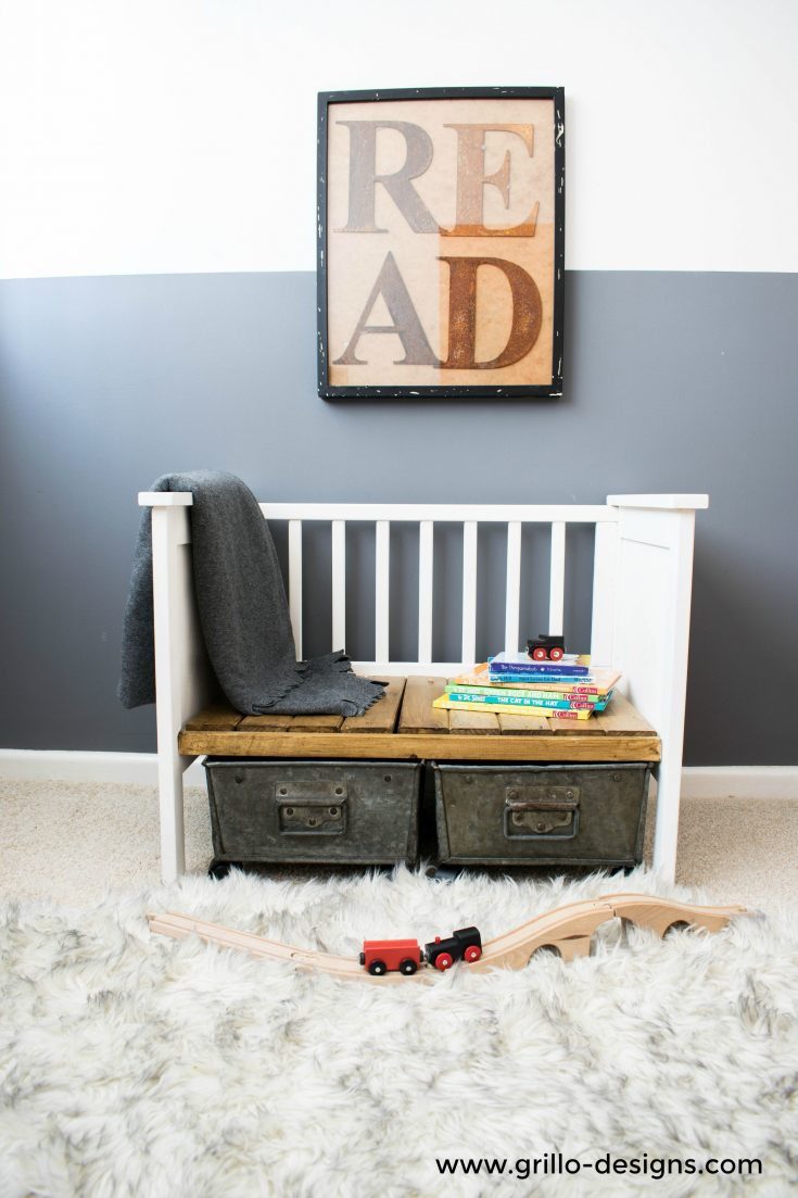 DIY kids' bench with storage from an old crib (via grillo-designs.com)