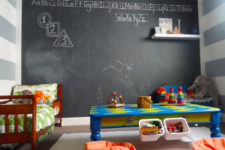 DIY chalkboard paint of latex paint and non-sanded grout
