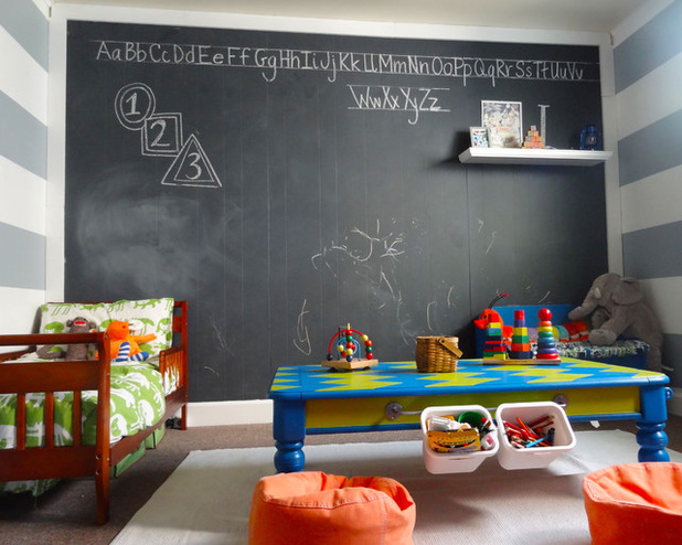 DIY chalkboard paint of latex paint and non-sanded grout (via www.houzz.com)