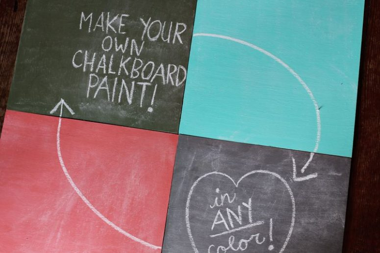 DIY colorful chalkboard paints (via www.abeautifulmess.com)