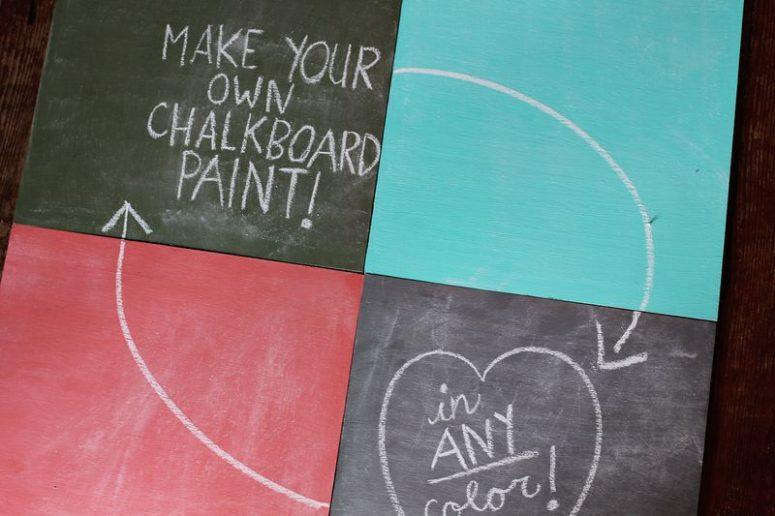 DIY colorful chalkboard paints (via www.abeautifulmess.com)