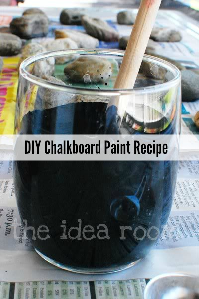 DIY chalkboard paint of paints and grout (via www.theidearoom.net)