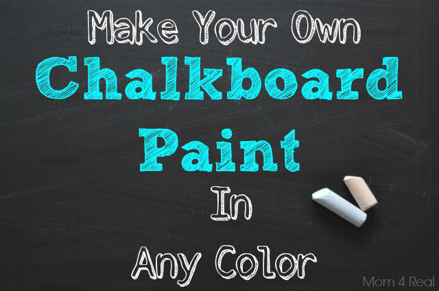 DIY chalkboard paint of latex paint and grout to try different shades (via www.mom4real.com)