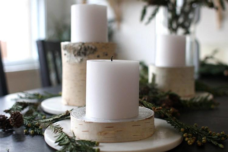 DIY birch log candle stands (via www.freutcake.com)