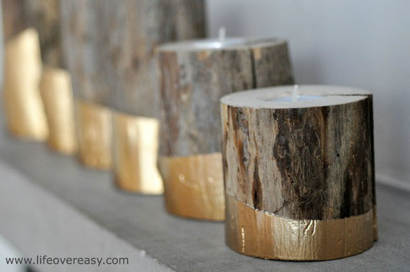 DIY gold dipped log candle holders (via lifeovereasy.com)