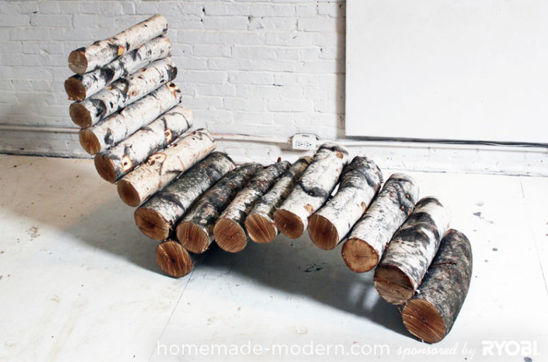 DIY log lounger for outdoors (via www.homemade-modern.com)
