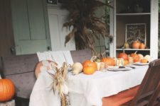 table with pumpkins