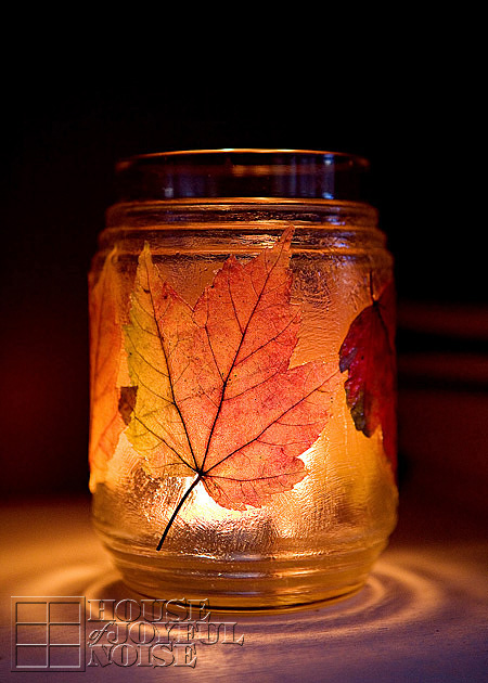 DIY fall leaf lanterns with Mod Podge (via houseofjoyfulnoise.com)