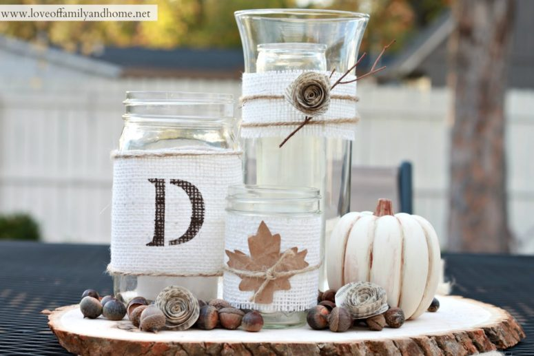 DIY centerpiece with burlap wrapped jars